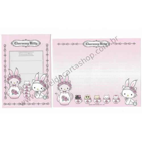 Ano 2006. Conjunto de Papel de Carta Charmmy Kitty Tea Sanrio