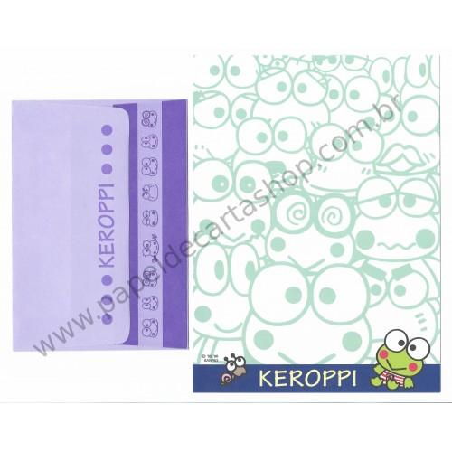 Ano 1996. Conjunto de Papel de Carta Keroppi CAZ Antigo (Vintage) Sanrio