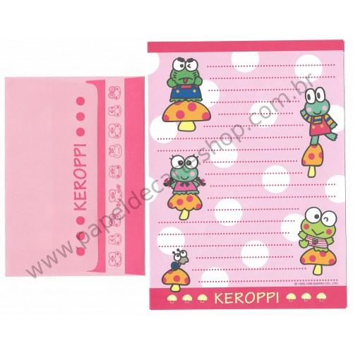 Ano 1996. Conjunto de Papel de Carta Keroppi CRS Antigo (Vintage) Sanrio