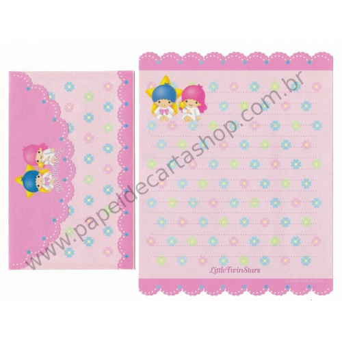 Ano 1999. Conjunto de Papel de Carta Little Twin Stars Antigo (Vintage) Sanrio