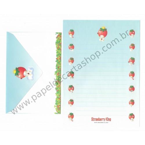 Ano 1998. Conjunto de Papel de Carta Strawberry King Az Antigo (Vintage) Sanrio