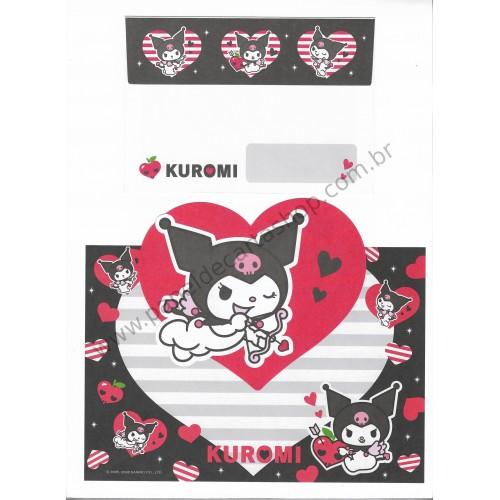 Ano 2008. Conjunto de Papel de Carta Kuromi Sanrio