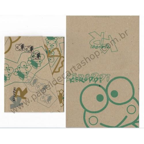 Ano 1996. Conjunto de Papel de Carta Keroppi Kraft Vintage Sanrio
