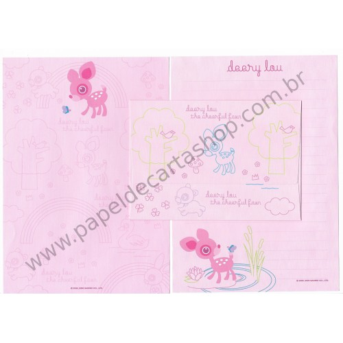 Ano 2003. Conjunto de Papel De Carta Deery-Lou Light Pink Sanrio