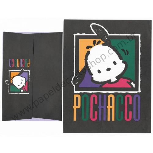 Ano 1994. Conjunto de Papel de Carta Pochacco Black Vintage Sanrio