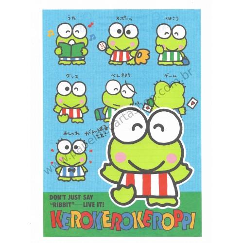 Ano 1990. Conjunto de Papel de Carta Keroppi CAZ Vintage Sanrio