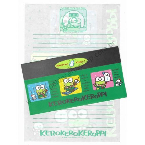 Ano 1989. Conjunto de Papel de Carta Keroppi Vintage Sanrio