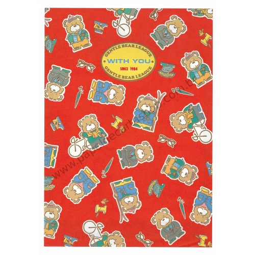Ano 1984. Conjunto de Papel de Carta Gentle Bear League VM Antigo (Vintage) Sanrio