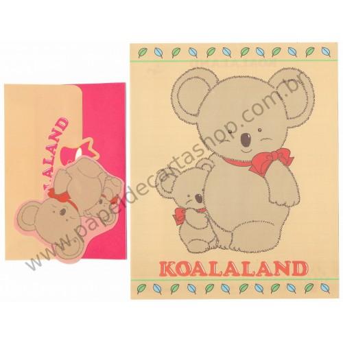 Ano 1984. Conjunto de Papel de Carta Koalaland Vintage Sanrio