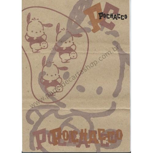Ano 1996. Conjunto de Papel de Carta Pochacco Kraft A4 Vintage Sanrio