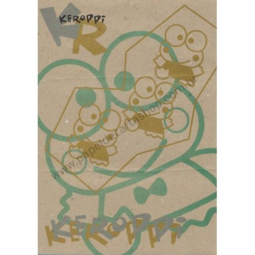 Ano 1996. Conjunto de Papel de Carta Keroppi Kraft A4 Vintage Sanrio