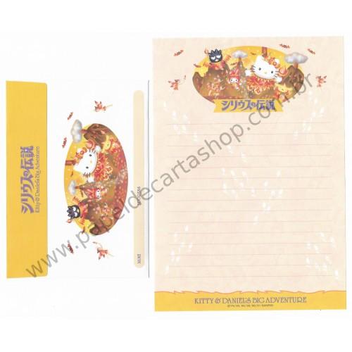 Ano 2001. Conjunto de Papel de Carta Hello Kitty & Daniel's Big Adventure CAM Sanrio