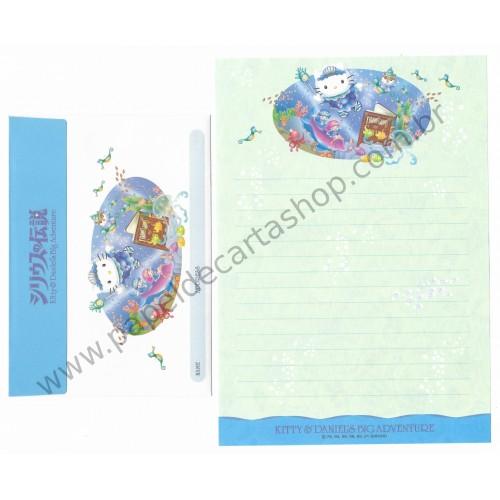 Ano 2001. Conjunto de Papel de Carta Hello Kitty & Daniel's Big Adventure CAZ Sanrio