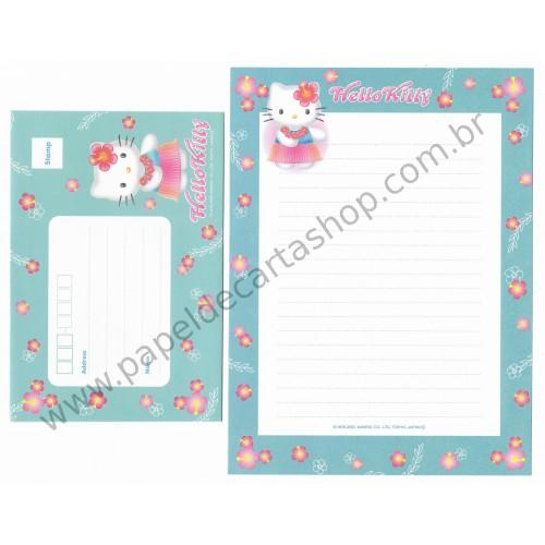 Ano 2000. Conjunto de Papel de Carta Hello Kitty Hawaii F2 Sanrio