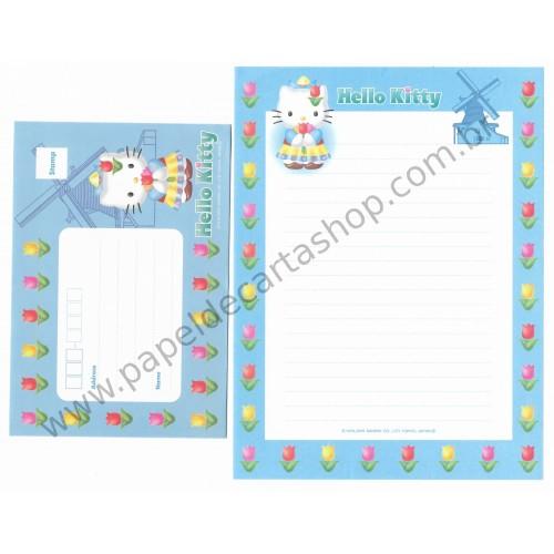 Ano 2000. Conjunto de Papel de Carta Hello Kitty Holanda F2 Sanrio