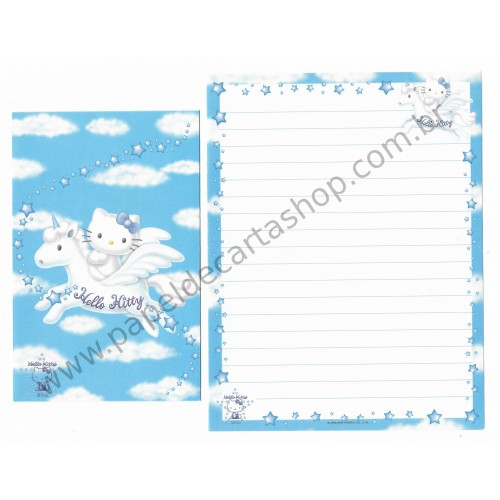 Ano 1999. Conjunto de Papel de Carta Hello Kitty 25th Unicórnio Antigo (Vintage) Sanrio