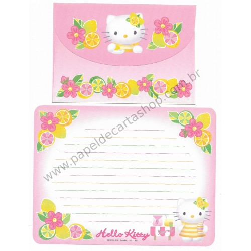 Ano 2001. Conjunto de Papel de Carta Hello Kitty Lemonade Antigo (Vintage) Sanrio