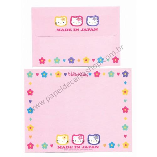 Ano 1997. Conjunto de Papel de Carta Hello Kitty Made in Japan CRS Antigo (Vintage) Sanrio