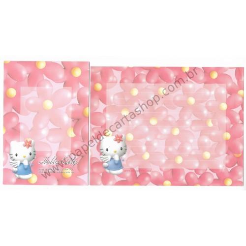 Ano 1997. Conjunto de Papel de Carta Hello Kitty Flores Antigo (Vintage) Sanrio