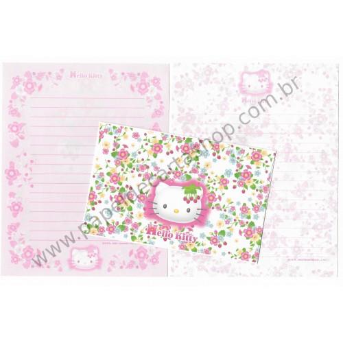 Ano 2001. Conjunto de Papel de Carta Hello Kitty Flores Dupla Sanrio