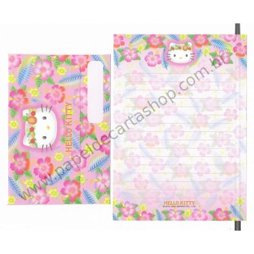 Ano 2001. Conjunto de Papel de Carta Hello Kitty Hibisco CRS Sanrio