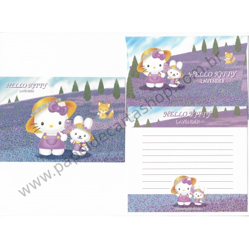 Ano 2001. Conjunto de Papel de Carta Hello Kitty Lavender Sanrio