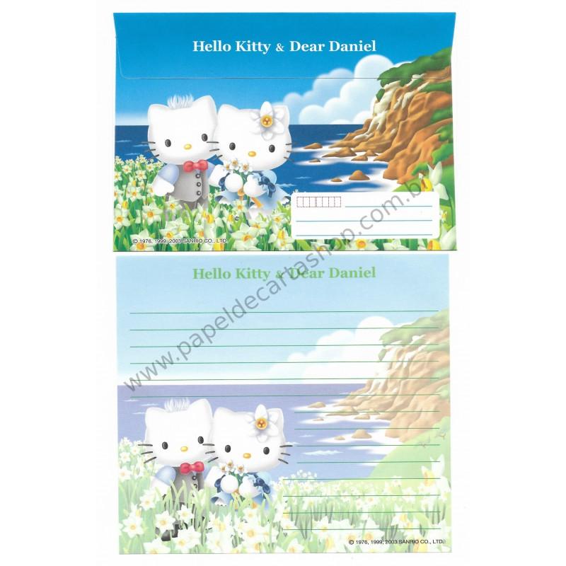 Ano 2003. Conjunto de Papel de Carta Hello Kitty & Dear Daniel Regional Sanrio