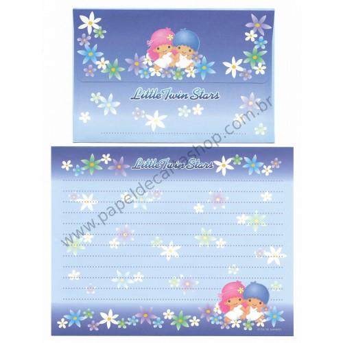 Ano 2002. Conjunto de Papel de Carta Little Twin Stars Blue Sanrio