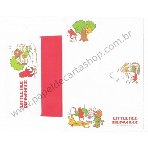 Ano 2000. Conjunto de Papel de Carta My Melody Little Red Ridinghood Sanrio