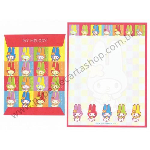 Ano 2002. Conjunto de Papel de Carta My Melody Colors Sanrio