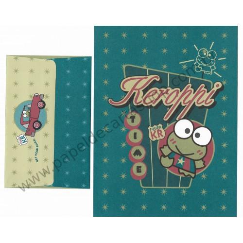 Ano 1996. Conjunto de Papel de Carta Keroppi Route KR Team Vintage Sanrio