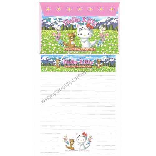 Ano 2003. Conjunto de Papel de Carta GOTŌCHI Kitty Regional Japão - Mountain Meadows 2 - Sanrio