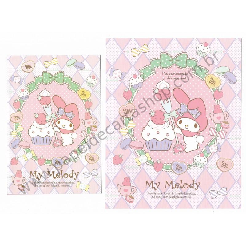 Ano 2014. Conjunto de Papel de Carta My Melody Deliciuously Sweet Sanrio