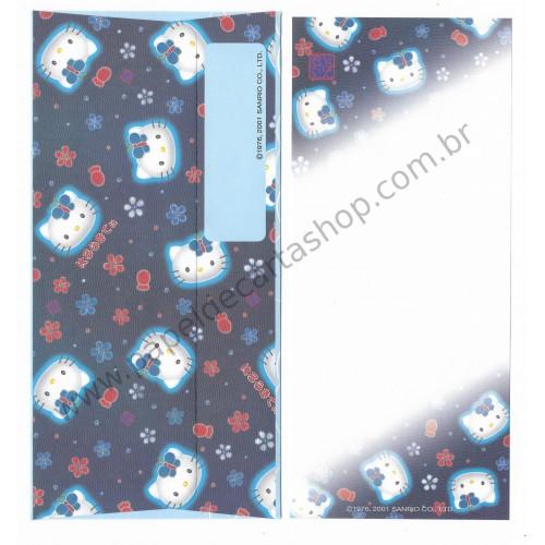 Ano 2001. Kit 2 Conjuntos de Papel de Carta Hello Kitty Regional Japão Az Sanrio
