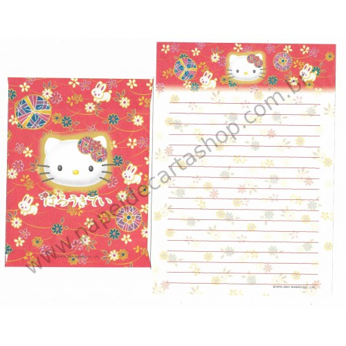 Ano 2001. Conjunto de Papel de Carta Hello Kitty Regional Japão VM Sanrio