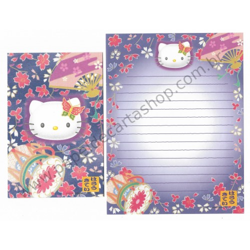 Ano 2000. Conjunto de Papel de Carta Hello Kitty Regional CAZ Sanrio