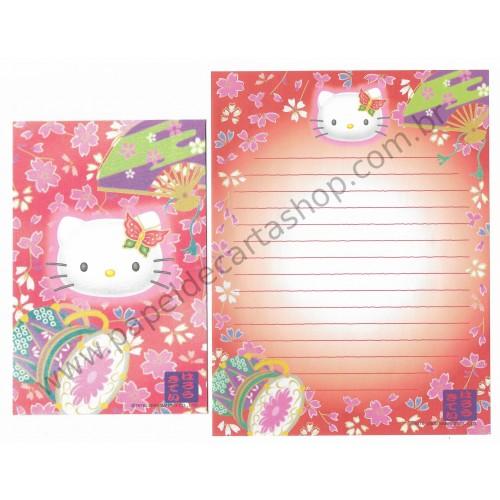 Ano 2000. Conjunto de Papel de Carta Hello Kitty Regional CVM Sanrio