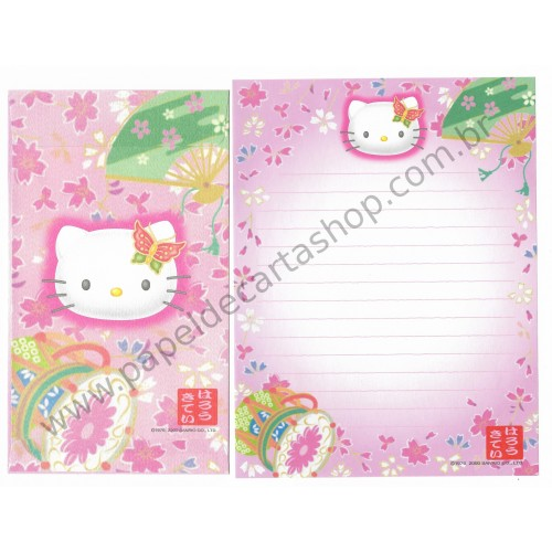 Ano 2000. Conjunto de Papel de Carta Hello Kitty Regional CRS Sanrio