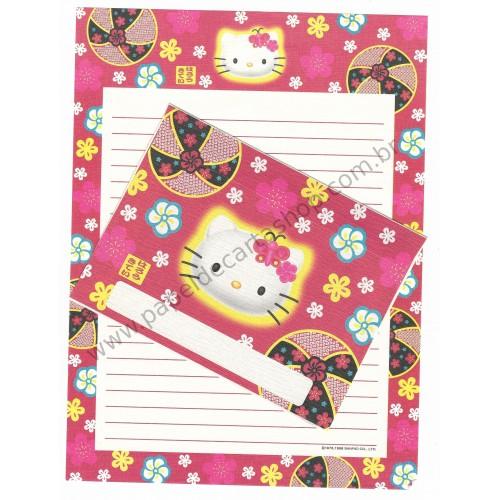 Ano 1998. Conjunto de Papel de Carta Hello Kitty Regional VM Antigo (Vintage) Sanrio