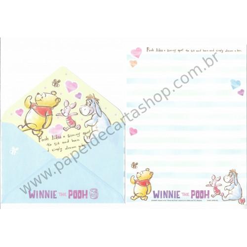 Conjunto de Papel de Carta Importado Disney Winnie the Pooh (AZ)