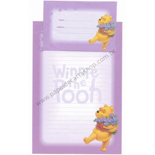 Conjunto de Papel de Carta Antigo VINTAGE Disney - POOH (Roxo)