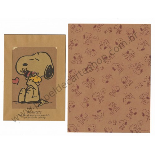 Conjunto de Papel de Carta Kraft Snoopy and Woodstock - Peanuts