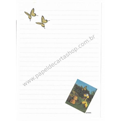 Papel de Carta Avulso Garfield & Butterflies - Paws