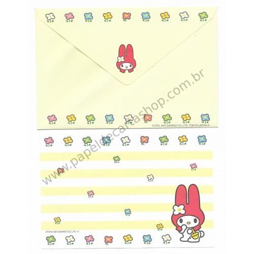 Ano 1997. Conjunto de Papel de Carta Pequeno My Melody CAM Antigo (Vintage) Sanrio
