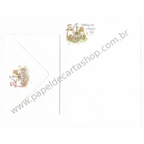 Conjunto de Papel de Carta ANTIGO Holly Hobbie - M55