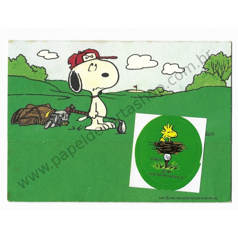ANTIGO IMPORTADO COM SELINHO PARA COLAR Snoopy Golf Hmk