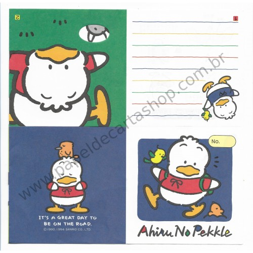 Ano 1994. Conjunto de Papel de Carta Pekkle 1a6 Antigo (Vintage) Sanrio