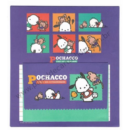 Ano 1995. Conjunto de Papel de Carta Pochacco Q Vintage Sanrio