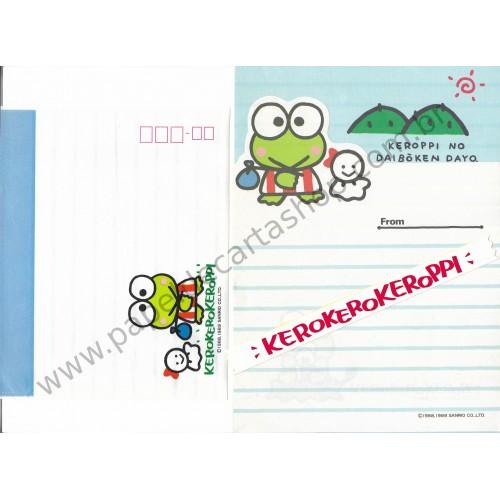 Ano 1989. Conjunto de Papel de Carta KeroKeroKeroppi Vintage Sanrio