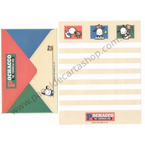 Ano 1994. Conjunto de Papel de Carta Pochacco CLA Vintage Sanrio